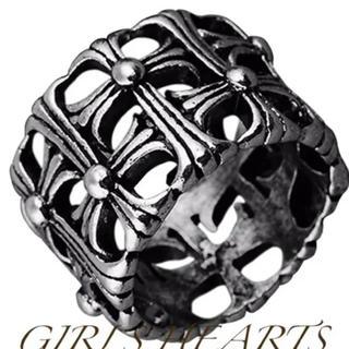 ✨定価6580円✨クロムシルバー ステンレスクロス十字架セメタリーリング指輪(リング(指輪))