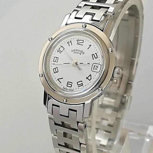 Hermes - 綺麗 エルメス 新品仕上げ 白 クリッパー レディース ウォッチ 七五三 極美品の通販