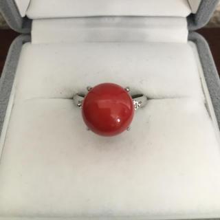 ダイヤモンド×赤珊瑚 リング Pt900 10.0ct 0.14ct 7.3g(リング(指輪))