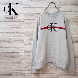 カルバンクライン(Calvin Klein)のUSA製 90's Calvin Klein 刺繍ビッグロゴスウェット(スウェット)