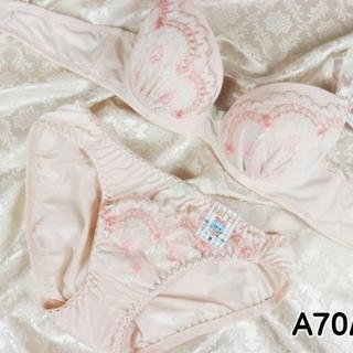 013★A70 M★美胸ブラ ショーツ 谷間メイク フラワーアーチ刺繍 ピンク(ブラ&ショーツセット)