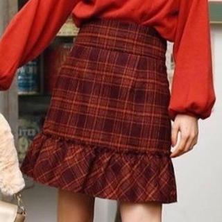 ワンアフターアナザーナイスクラップ(one after another NICE CLAUP)の新品 スカート 赤 チェック(ミニスカート)