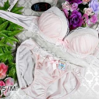 015★A75 M★美胸ブラ ショーツ Wパッド シフォン ピンク(ブラ&ショーツセット)