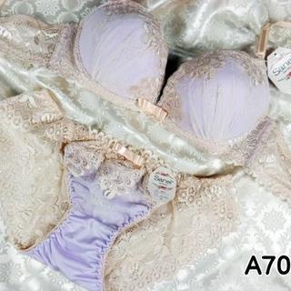 036★A70 M★美胸ブラ レースバックショーツ 谷間メイク アイリス(ブラ&ショーツセット)