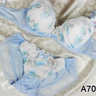 038★A70 M★美胸ブラ ショーツ Wパッド コスモス レース 水色(ブラ&ショーツセット)