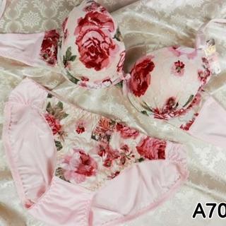 044★A70 M★美胸ブラ ショーツ 谷間メイク ローズプリント ピンク(ブラ&ショーツセット)