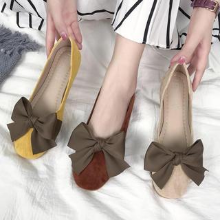 ♥ パンプス シューズ ローヒール フラット リボン スエード調 靴 ぺたんこ(ハイヒール/パンプス)