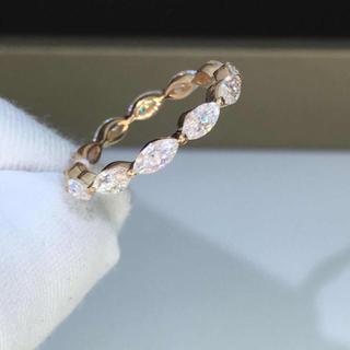 マーキスモアサナイト ダイヤ リング k18ピンクゴールド(リング(指輪))