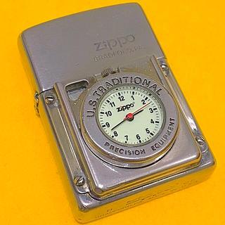ジッポー(ZIPPO)の ZIPPO 時計付きタイムライト  希少 夜光文字盤 稼働品(タバコグッズ)