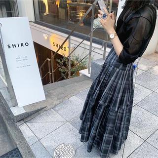 フレイアイディー(FRAY I.D)の新品未使用タグ付き プリーツタックタフタスカート(ロングスカート)