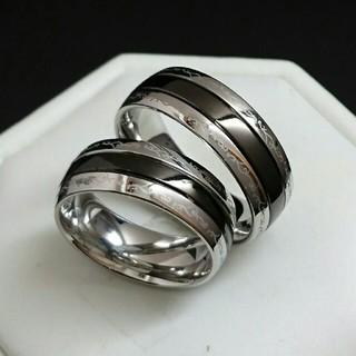 新品☆ペアリング☆刻印無料♥アラベスク ブラックライン鏡面♥ペア価格♥ネーム彫り(リング(指輪))