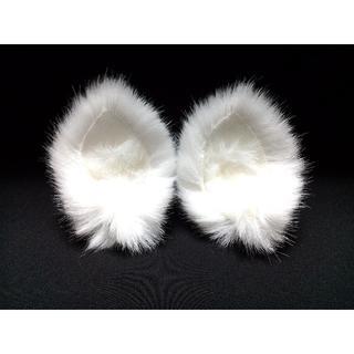 【 ホワイトネコミミ 】ヘアピンねこみみ◆白色◆頭の髪に着けられる猫耳(ヘアアクセサリー)