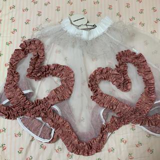 ミキオサカベ(MIKIO SAKABE)のmikio sakabeピンクハートフリルスカート新品(ひざ丈スカート)