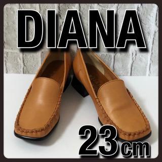 ダイアナ(DIANA)の美品 DIANA ダイアナ ローファー パンプス ブラウン レザー 23cm(ローファー/革靴)