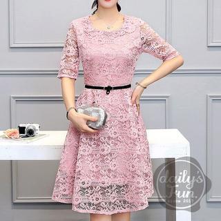 限定価格‼  総レース ピンク XL ワンピース ドレス フレア(ミディアムドレス)