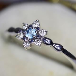 k10♡華奢なブルーのお石ダイヤモンド乙女なホワイトゴールドリング指輪(リング(指輪))
