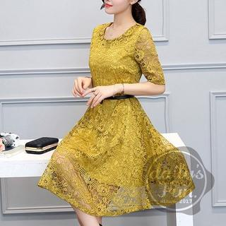 大人気★  総レース 黄色 L ワンピース ドレス フレア(ミディアムドレス)