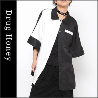 ファンキーフルーツ(FUNKY FRUIT)の【DrugHoney】配色ポケット付きビックシャツ ブラック ドラッグハニー(Tシャツ(半袖/袖なし))