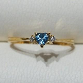 テイクアップ(TAKE-UP)の美品❣️K18ブルートパーズ&ダイヤモンドリング ( 9.5号 )(リング(指輪))