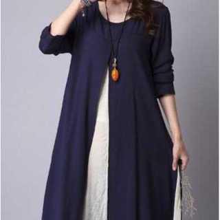XL/ブルー長袖ワンピース 重ね着風ワンピース 綿 刺繍 春秋  スリット(ひざ丈ワンピース)