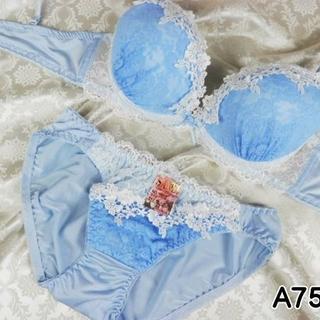 070★A75 M★美胸ブラ ショーツ Wパッド フラワー刺繍 水色(ブラ&ショーツセット)