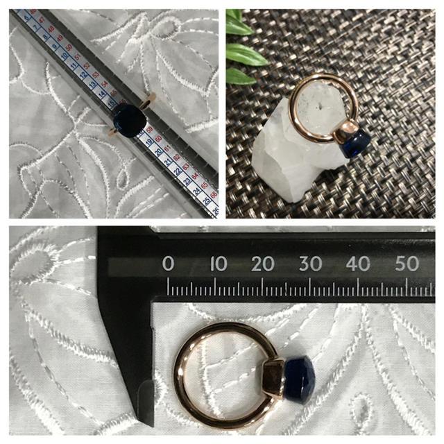 ブルートパーズリング☆K14sv925☆ピンクゴールド☆16〜17号☆57号 レディースのアクセサリー(リング(指輪))の商品写真