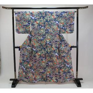 コハ様専用Sお仕立て上がり正絹小紋 青色地に朱色、白、藤色の百花柄(着物)