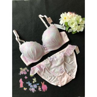 ブラジャー ショーツ 上下セット C75 M パステル ピンク 高級花柄刺繍(ブラ&ショーツセット)