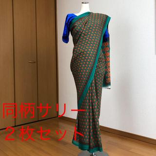 インドサリー プリント柄 グリーン×オレンジ 2着(衣装一式)