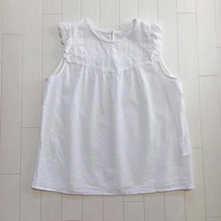 しまむら - ノースリーブ ブラウス 花柄 ホワイト 白