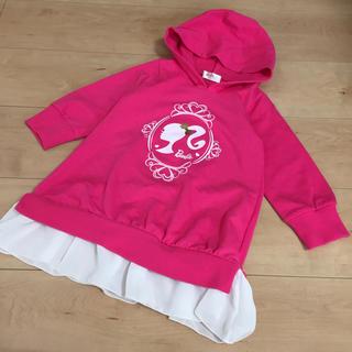 バービー(Barbie)のバービー  長袖フード付ワンピース チュニック 95(ワンピース)