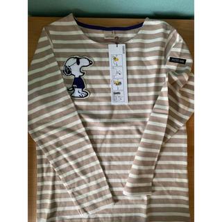 プティマイン(petit main)のプティマイン ベージュボーダーロンt スヌーピー(Tシャツ/カットソー)