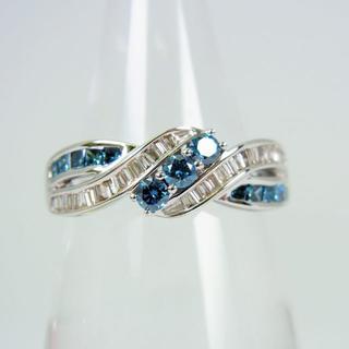 K18WG ブルーダイヤモンド リング 14号[f60-1](リング(指輪))