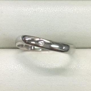 ★サイズ18号★プラチナPt900ダイヤモンドリング0.02ct★ウェーブ甲丸★(リング(指輪))