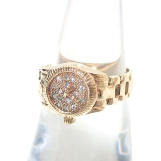 E262 K18 ダイヤモンド 指輪 リング 腕時計モチーフ YG 5.2g(リング(指輪))