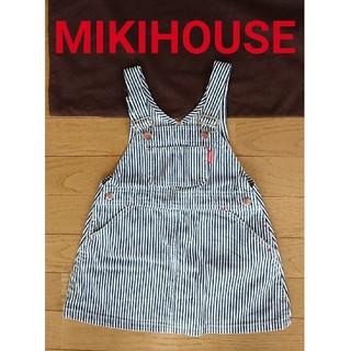 ミキハウス(mikihouse)のボーダー ジャンパースカート デニムワンピース MIKIHOUSE ミキハウス(ワンピース)
