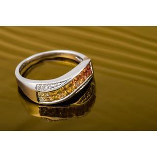 K18WG イエローサファイア・ダイヤモンド グラデーションリング 品番7-17(リング(指輪))