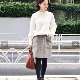 イエナ(IENA)のイエナ IENA チェック台形スカート ネイビー 40(ひざ丈スカート)