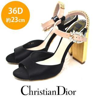 クリスチャンディオール(Christian Dior)のクリスチャンディオール ビジュー ストラップ サテン サンダル 36D(約23(サンダル)