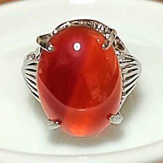 瑪瑙 メノウ めのう 約13号 台座素材不明 赤 レッド(リング(指輪))