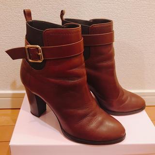 ダイアナ(DIANA)の美品 ダイアナ DIANA ショート ブーツ ブラウン レザー 靴 太ヒール(ブーツ)