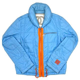 シャネル(CHANEL)のCHANEL☆ 02S 中綿ジャケット ココマーク  ライトブルー オレンジ(ダウンジャケット)