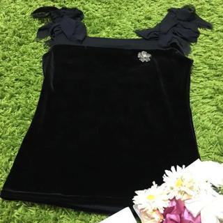 フォクシー(FOXEY)の美品フォクシー❤レディストレッチトップス黒(カットソー(半袖/袖なし))