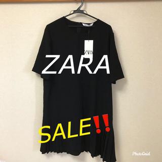 ザラ(ZARA)のSALE‼️【新品・タグ付】ZARA ラウンドネック 半袖ワンピース 裾プリーツ(ひざ丈ワンピース)