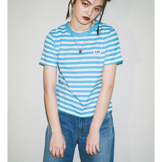 エックスガール(X-girl)のX-girl 新品タグ付き ボーダー天竺ベーシックTシャツ(Tシャツ(半袖/袖なし))