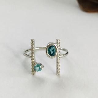 ロンドンブルートパーズ デザインリング インドジュエリー(リング(指輪))