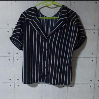 アルシーヴ(archives)のarchive ストライプワイドカラー半袖シャツ(Tシャツ/カットソー(半袖/袖なし))