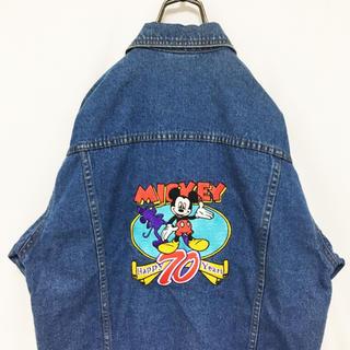 ディズニー(Disney)のレア 90S 70周年 ディズニー デニムジャケット 刺繍 デカロゴ(Gジャン/デニムジャケット)