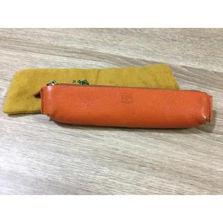 IL BISONTE - 保管袋つき◆イルビゾンテ 正規品 ペンケース 筆箱 小物入れ オレンジ