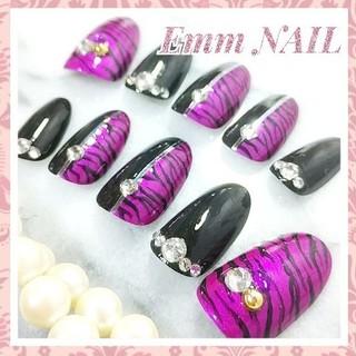 ネイルチップ 紫ゼブラ